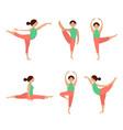 flat icons set yoga poses vector image