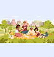 friends people on picnic party in summer city park vector image vector image
