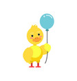funny little yellow duckling standing with blue vector image