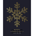Gold Christmas and new year ornamental snowflake vector image