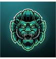 green lion head mascot logo design vector image vector image