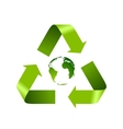 Green recycle logo and globe isolated on white