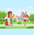 happy family people in vacation mother father vector image vector image
