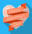 Happy Valentines Day Greeting Card Design in Flat vector image