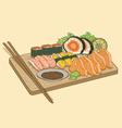 Japanese Food Sushi salmon fish vector image vector image