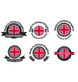 Made in UK badge set with United Kingdom flag vector image vector image