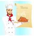 male chef holding tray with roasted turkey vector image