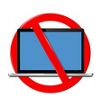 not use laptop sign vector image vector image