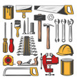 repair tools carpentry and building icons vector image