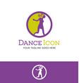 retro dancing girl logo vector image vector image