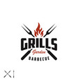 retro vintage grill with crossed fork and fire vector image vector image