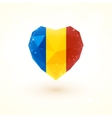 Romanian flag in shape diamond glass heart vector image