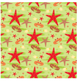 Seamless crabs and starfishes pattern vector image vector image