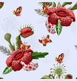 seamless pattern with plant predators vector image vector image