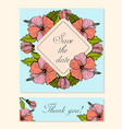 set of cards with hibiscus floral motifs vector image vector image