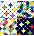 Set of four retro seamless pattern with rhombus vector image