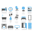 simple interior furniture icons setblue series vector image vector image