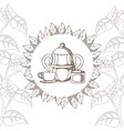 tea cup and kettle vector image vector image