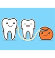 Teeth and dental floss vector image