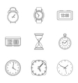Time icons set outline style vector image vector image