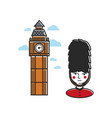 tower with clock and royal guard in uniform vector image vector image