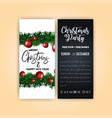 vintage christmas party flyer template vector image