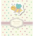Vintage doodle little bee for greeting card vector image