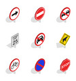 warning traffic sign icons isometric 3d style vector image vector image