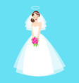 young beautiful bride is in an elegant wedding vector image