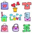 Love theme doll bag flower of doodles vector image