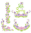 set of border frame vignette with flowers and vector image