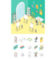 artist workplace and elements part isometric view vector image vector image