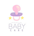 baby care logo design emblem with baby pacifier vector image vector image