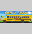 back to school with school bus on road vector image