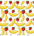 banana and strawberry seamless background vector image
