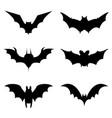 bats halloween icons set in black vector image vector image