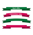best offer christmas sale on green and red ribbon vector image vector image