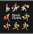 black friday crowd male people running vector image vector image