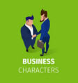 business men characters shaking hands agreement vector image vector image