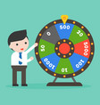 businessman with wheel of fortune flat design vector image