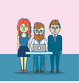 businesspeople teamwork with laptop and hairstyle vector image vector image