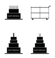 cake happy birthday set vector image vector image