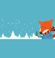 cartoon banner for holiday theme with fox on vector image vector image