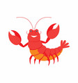 cartoon lobster isolated on vector image vector image