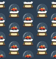 christmas snow globe with red truck seamless vector image vector image