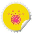 circular peeling sticker cartoon ringing alarm vector image vector image