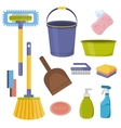 cleaning tools Flat design household vector image vector image