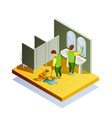 closet cleaning isometric composition vector image vector image