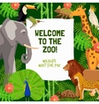 Colorful Poster With Invitation To Visit Zoo vector image vector image