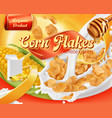 corn flakes honey and milk splashes 3d realistic vector image vector image